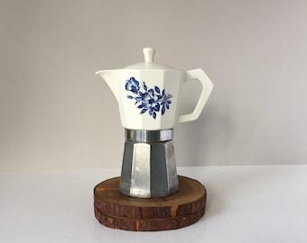Vintage Moka Express Pot, 9 Cup Stovetop Espresso Maker, Ceramic Top Italian Caffettiera, Steam Percolator, Gemelli Aluminum Coffee Pot