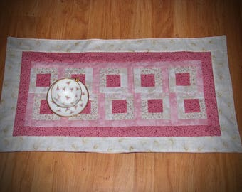 Beautiful Pink Table Runner, Summer Table Runner,Hand Made Table Linens, Bedroom  Table Runner,Appilqued Pink Table Runner. Mothers Gift