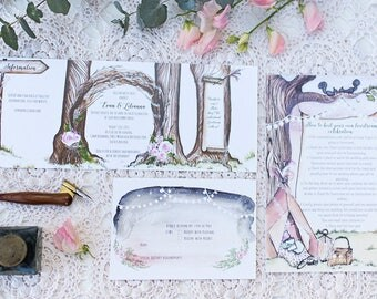 Boho woodland Custom watercolour invitations wedding  l  watercolor design wedding stationery  l  modern calligraphy  l  save the date