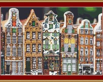 Amsterdam Buildings II Cross Stitch Pattern