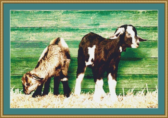 Two Goats Cross Stitch Pattern /Digital PDF Files /Instant downloadable