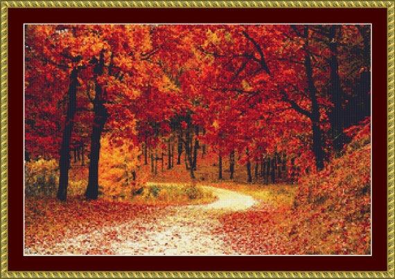 Stunning Autumn Colours Cross Stitch Pattern /Digital PDF Files /Instant downloadable