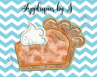 Pie Appliqué embroidery Design - pumpkin pie appliqué design - slice of pie machine embroidery design - dessert appliqué design -