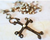 Handcrafted Rosary, Wire Wrapped Cross Rosary, Rustic Wire Wrapped Cross, Catholic Rosary, Beaded Chain Rosary, Rustic Cross Necklace
