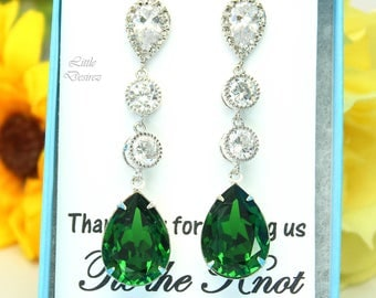 Long Green Earrings Dark Green Earrings Swarovski Dark Moss Stone Cubic Zirconia Earrings Sterling Silver Bridesmaids Drop Earrings DM31PCC