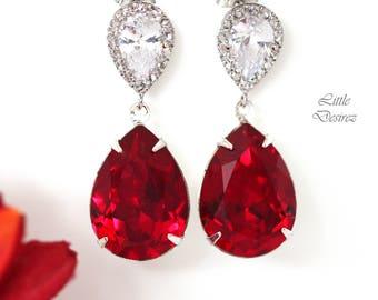 Red Teardrop Earrings Dark Red Earrings Ruby Earrings Swarovski Bridesmaid Earrings Deep Red Earrings Crimson Jewelry Cubic Zirconia SI31P