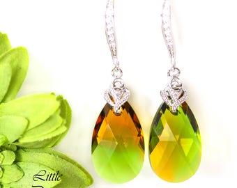 Green & Topaz Earrings Swarovski Crystal Green Earrings Topaz Earrings Yellow Earring Unique Blend Crystal Colors Bridesmaid Gift GT32H