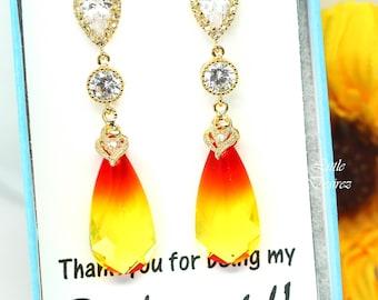 Yellow & Red Earrings Swarovski Fire Opal Teardrop Crystal Statement Earrings Bridal Earrings Bridesmaid Earring Sparkly Earring FO33PC