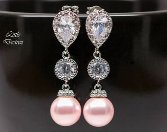 Pink Pearl Earrings Bridal Earrings Blush Pink Earrings Swarovski Pearl Bridesmaid Earrings Cubic Zirconia Light Pink Pearl Soft Pink P44PC