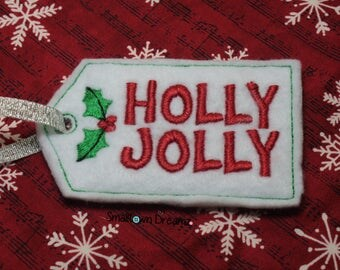 MADE TO ORDER , Holly Jolly Gift Tag Feltie (Set of 2) Precut