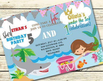 Shark and Mermaid BIRTHDAY Party INVITATION for SIBLINGS, Brother and Sister - Shark Birthday Invite, Mermaid Birthday Invite