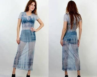 SALE 90s Maxi Dress / Sheer Dress / Grunge Dress / Transparent Dress / Vintage Aqua Dress / Rave Dress / Club Kid / Medium Long Dress /