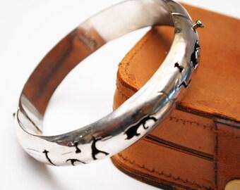 Silver Hinged Bangle - Alpaca Mexico - Hollow cut outs -  buffalo -southwestern bracelet