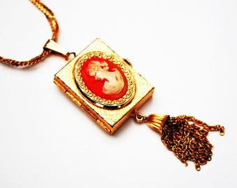 Vintage  Locket-  Cameo Necklace - Victorian Revival - Resin Cameo - gold four photo locket