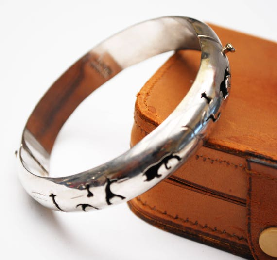 Silver Hinged Bangle - Alpaca Mexico - Hollow cut outs -  buffalo -southwestern bracelet