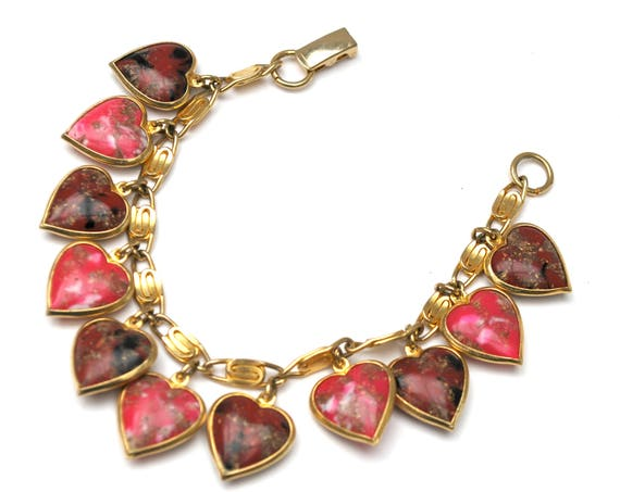 Heart Charm Bracelet - Pink Purple Lucite heart charms  -Gold plated swirl  link bangle