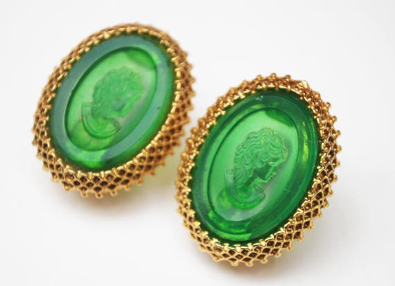 Green intaglio cameo Earrings - reversed Carved  Crystal - women profile -  Clip on earrings