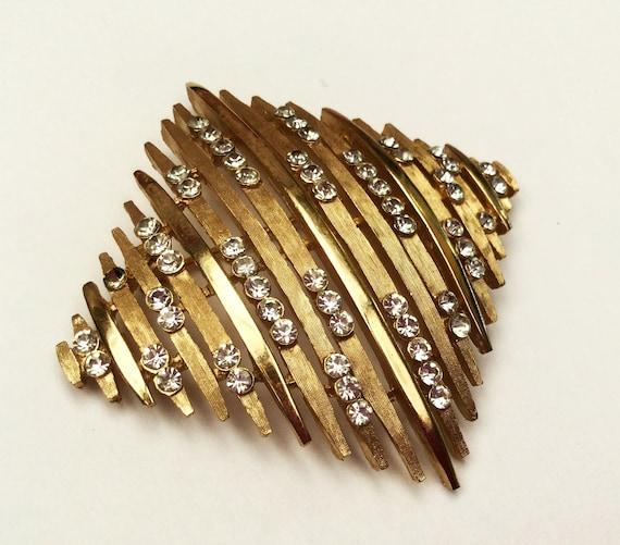 Crown Trifari Rhinestone brooch - Large Diamond Square -Gold metal - Mid century -  Atomic  Pin