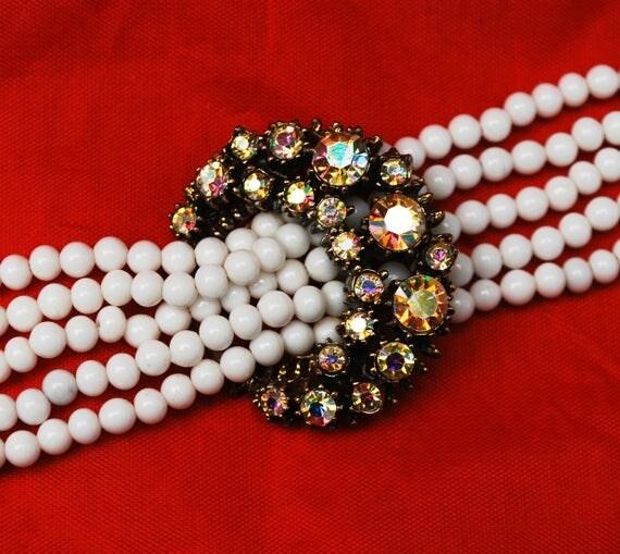 Florenza Bracelet - White milk glass beads - AB rhinestone crescent - beaded bracelet