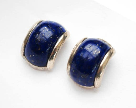 Lapis  Sterling  Earrings - half Hoop - Blue gemstone inlay  - signed China  - Pierced Earrings
