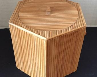 Mid-Century Modern Reed Bamboo Ice-Bucket