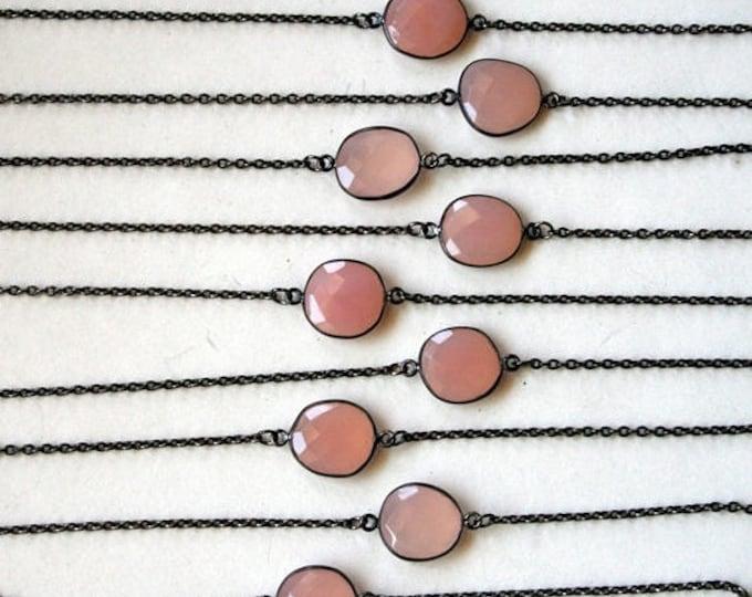 GIFT SALE Petite Rose Quartz Gunmetal Necklace // Minimal Rose Quartz Layering Necklace