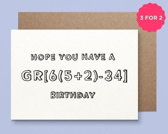 Maths Birthday Card Great Birthday – Great Birthday Card