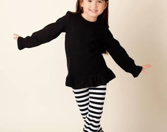 SALE Ready To Ship Black White Stripe Ruffle Girls Pants Perfect for Valentines Christmas Cute Matches Applique Shirts