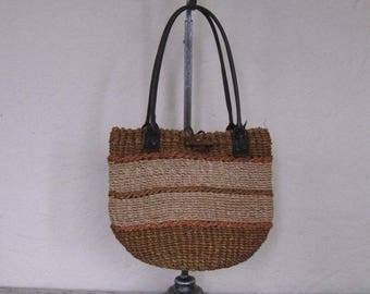 Summer Clearout Vintage Sisal Tote Bag// Natural Vibes// Stripe// Summer Bag