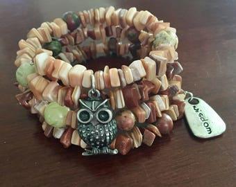 Wrap Bracelet, Owl Bracelet, Wisdom, Crystal Wrap Bracelet
