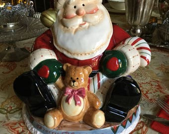 Beautiful Fitz and Floyd Fireplace Santa-Cookie/Treat Jar-Christmas Holiday
