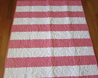 Pink, Gold, White Stripe Baby Quilt