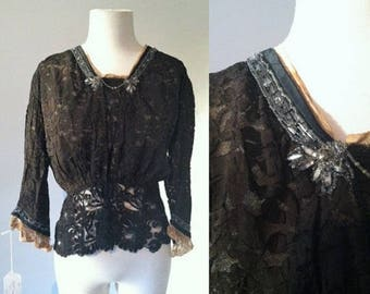 Late Edwardian Blouse Black with Lace and Beading | Embellished 1910s Blouse