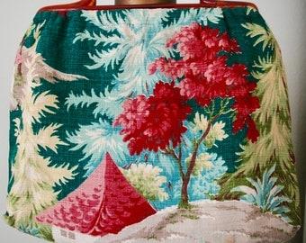 "Vintage Barkcloth Tote - ""Pagoda Pretty"""