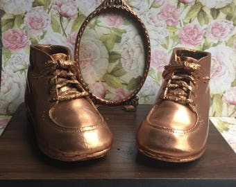 Antiqued Baby Shoes Frame Vintage Baby Shoes On ETSY  Baby Shoes Bronzed  With Frame Collectibles Memorabilia Baby Picture Frame
