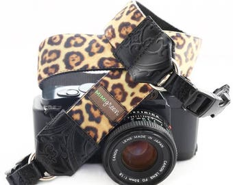 ON SALE The Susie Leopard Velvet Camera Strap with Quick Release Buckles -- 1.5 inches wide
