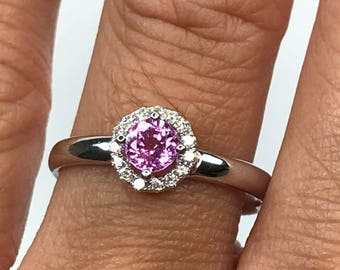 CLEARANCE Pink Sapphire and Diamond Ring