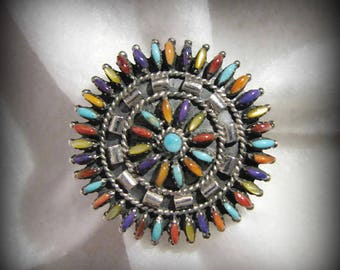 Vintage ZUNI PETIT POINT Rainbow Ring -- Signed J U (possibly Jason Ukestine), Size 8, a rainbow of color, Excellent Condition
