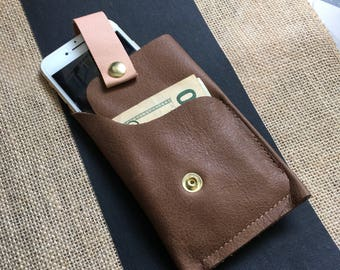 Leather phone and cash case brown and peach