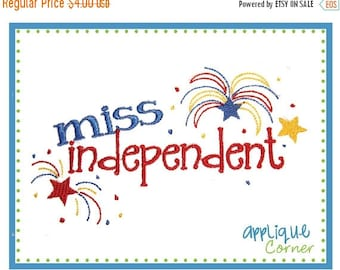 40% OFF INSTANT DOWNLOAD Miss Independent 4th of July applique design in digital format for embroidery machine by Applique Corner