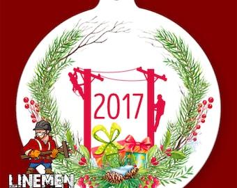 Lineman Wreath Christmas Ornament Linemen Linelife