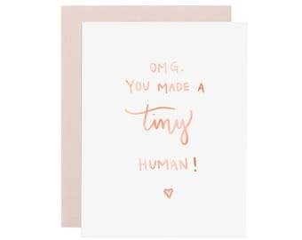TINY HUMAN rose gold foil card. New Baby card. New parents card. New mom card. You Made a Tiny Human greeting card. Rose Gold foil card.