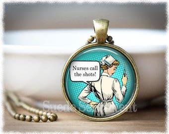 Nurses Call the Shots • Nurse Jewelry • Registered Nurse Necklace • I'm a Nurse, What's Your Superpower • Nurse Necklace