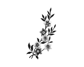 Flowers - Flower - Garden - Black, White & Silver - Embroidered Iron On Patch - Right