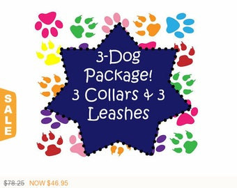 Puppy Love Sale - 40% Off 3 Dog Package! 3 Collars and 3 - 6 Ft Leashes, Dog Collar - Available in all Dog Collar Listings - Fa