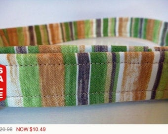 """Sale - 50% Off Fall Striped Dog Collar - Brown, Green, Beige & Tan """"Rainforest"""" - Free Colored Buckles"""
