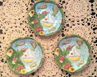 """3 Small Dishes/Fitz & Floyd 3.5"""" Dishes/Nautical Scene Dish/Sailboat Pond Scene/Cheerful Pin Dishes/Fish Pond Dishes/Raised Surface"""