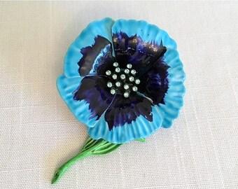 17% OFF SALE Blue Flower Brooch/Enameled Flower Pin/Blue Flower Brooch/Flower Lapel Pin/Valentine's Gift/Rhinestone Center/Blue Flower Lapel