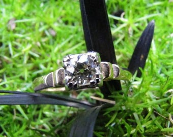 DEADsy LAST GASP SALE Antique Diamond Engagement Ring : Edwardian Ring with Two Tone (White and Yellow) Gold, Old Mine Cut Diamond from the