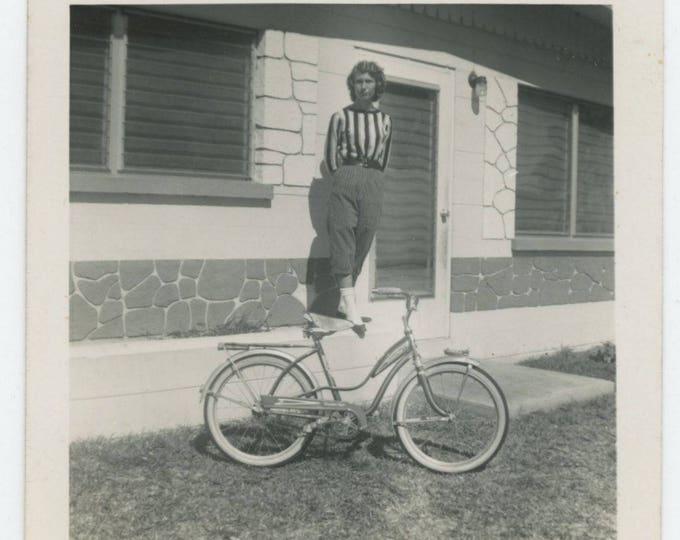 Vintage Snapshot Photo: Girl & Bicycle, 1961 (711619)